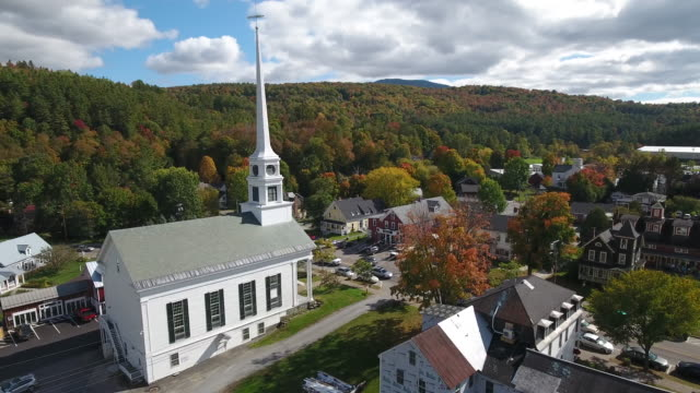 stunning aerial view of stowe, vermont. usa - small town stock videos and b-roll footage