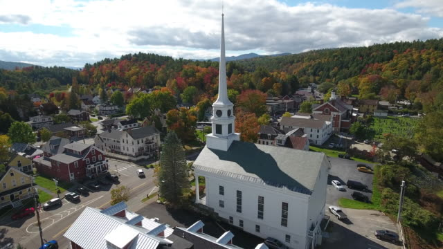 Stunning aerial view of Stowe, Vermont. USA