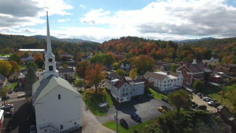 stunning aerial view of stowe, vermont. usa - vermont stock videos & royalty-free footage