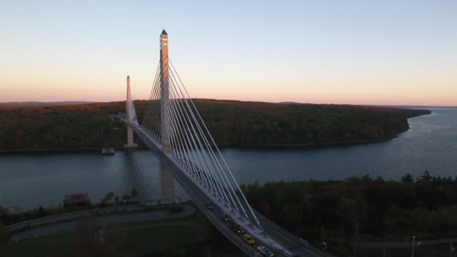 a stunning aerial view of the penobscot narrows bridge, maine, usa - maine video stock e b–roll