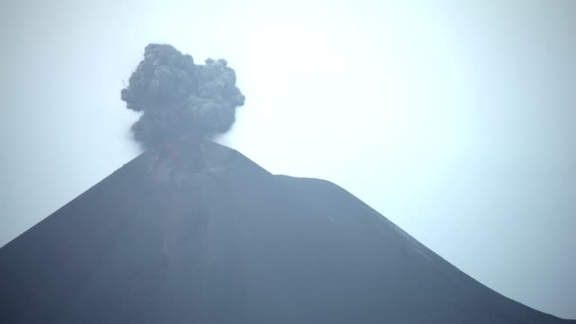 stunning footage of anak krakatau volcano erupting in indonesia with large volcanic ash cloud in august 2018 - erupting stock videos & royalty-free footage