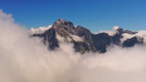 aerial stunning julian alps in fog - dramatic landscape stock videos & royalty-free footage