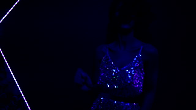 stunning lady in glittering dress dancing - upper class stock videos & royalty-free footage