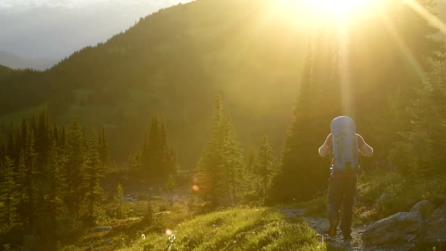 Stunning mountain hike at sunset