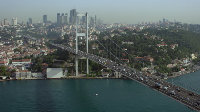 stunning shot of istanbul's bosphorus bridge - july 15 martyrs' bridge stock videos & royalty-free footage