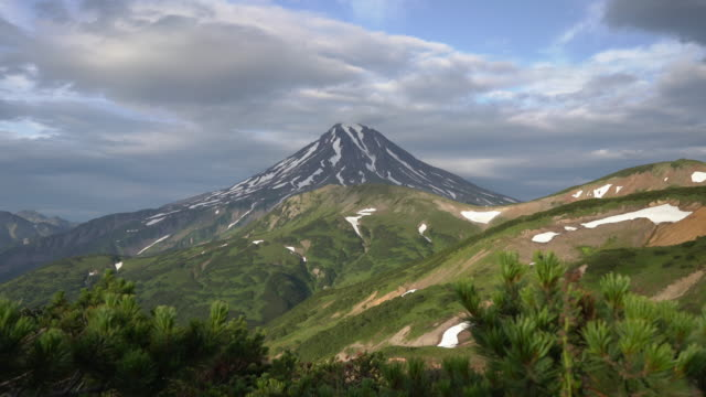 stunning summer panoramic view of volcanic landscape of kamchatka peninsula - eurasia stock videos and b-roll footage
