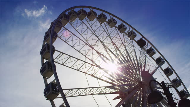 stunning view of ferris wheel in gdansk, poland. sunny day seen from drone - poland stock videos & royalty-free footage