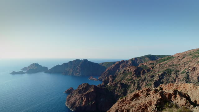stunning views of scandola nature reserve in corsica - 自然保護区点の映像素材/bロール
