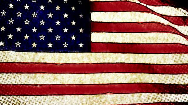 stilisierte handdrawn grünen bio-amerikanische flagge - handcoloriert stock-videos und b-roll-filmmaterial