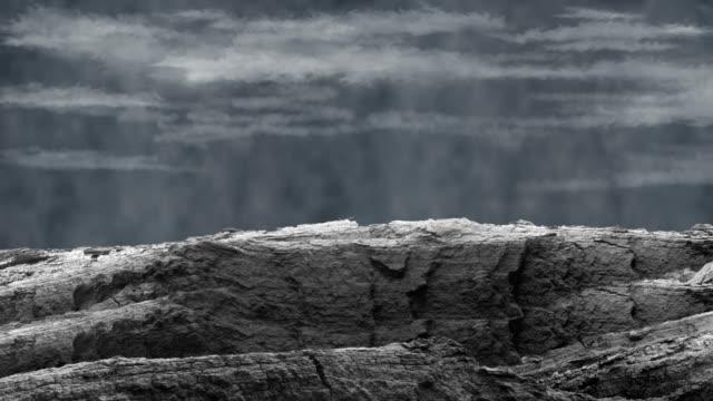 Stylised Oak Bark Hill With Scrolling Sky
