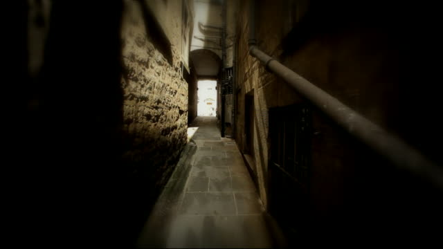 stylised pov sequence travelling through alley - distorted stock videos & royalty-free footage