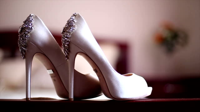 stylish bridal shoes - high heels stock videos & royalty-free footage