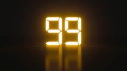 Stylish glowing countdown seconds with reflection for analog style presentation