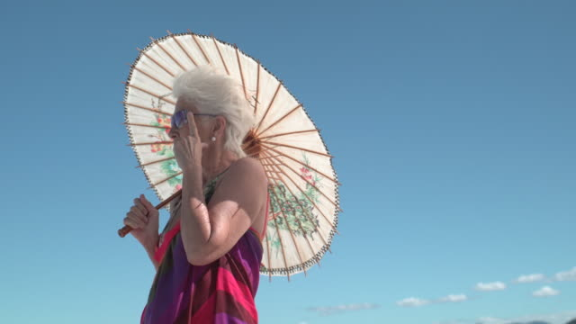 Stylish lady with a Japanese umbrella and blue sky background