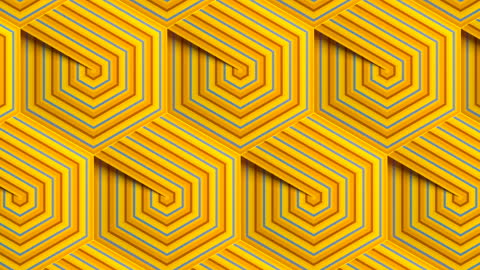 stylish line art footage with multi colored striped hexagonal geometric pattern. digital seamless loop animation. 3d rendering. hd resolution - illusion stock videos & royalty-free footage