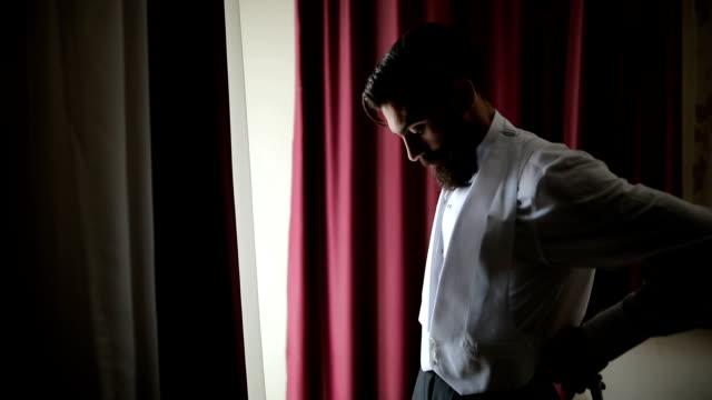 stylish man dress vest - beard stock videos & royalty-free footage