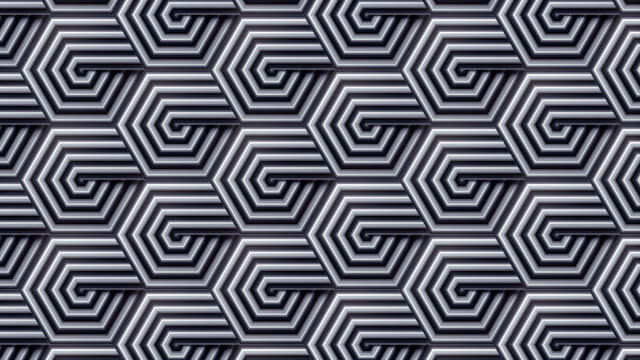 stylish monochrome template with striped hexagon moving pattern. digital seamless loop animation. 3d rendering. 4k, ultra hd resolution - optical illusion stock videos & royalty-free footage