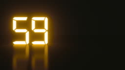Stylish neon countdown seconds with reflection for analog style presentation