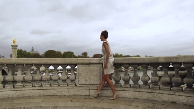 stylish woman leaning on railing of bridge in paris france looking out over the seine river, daytime - アレクサンドル3世橋点の映像素材/bロール