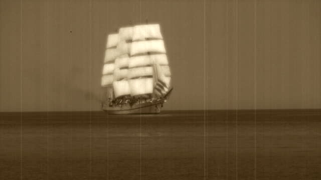 stylized old movie - tall ship in full sail - the past stock videos & royalty-free footage