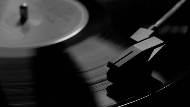stylus and record turntable. monochrome. - deck stock videos & royalty-free footage