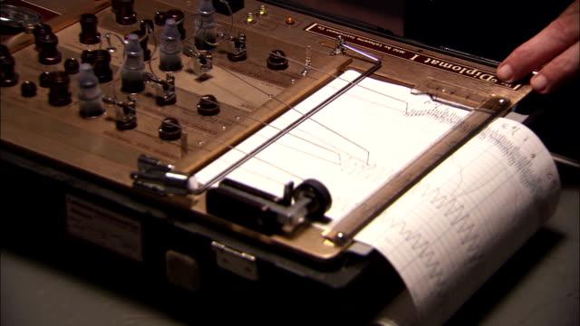 vídeos de stock, filmes e b-roll de styluses create notations on a polygraph chart. - papel quadriculado