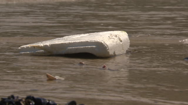styrofoam block pushed toward the shore by ocean waves - water pollution stock videos & royalty-free footage
