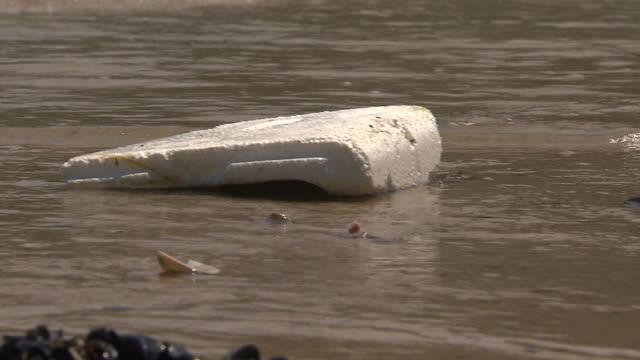 styrofoam block pushed toward the shore by ocean waves - vattenförorening bildbanksvideor och videomaterial från bakom kulisserna