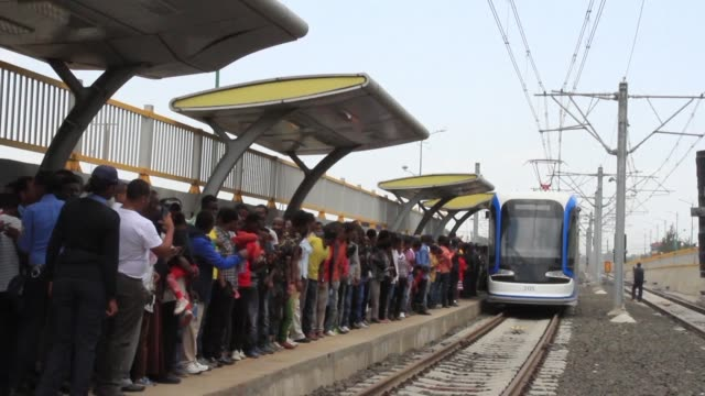 sub saharan africas first modern tramway opens in the ethiopian capital marking the completion of a massive chinese funded infrastructure project... - development stock videos & royalty-free footage