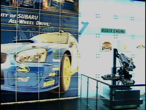 subaru display about the contruction of its automobiles; right to show the 3 components of subaru's construction 2003 subaru display at auto show at... - subaru stock videos & royalty-free footage