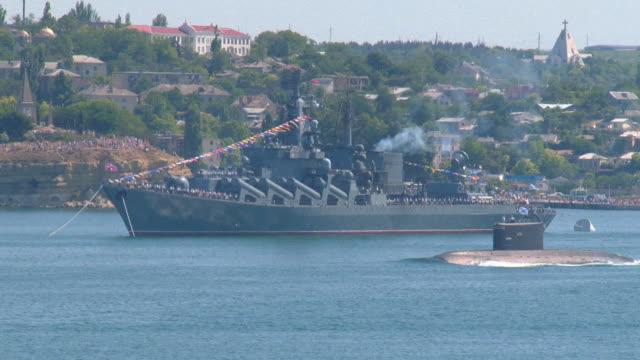 stockvideo's en b-roll-footage met submarine at a military parade - voor anker gaan