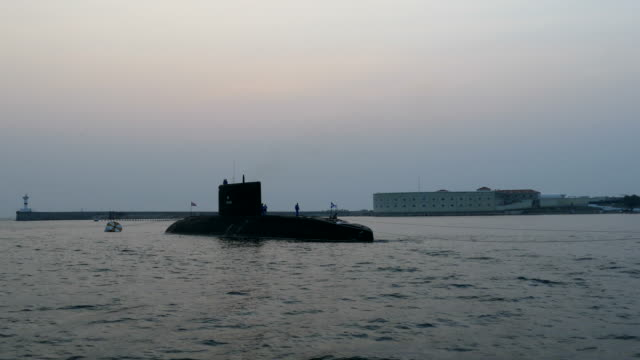 submarine at anchor in the bay - navy stock videos & royalty-free footage