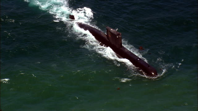 submarine at sea close - aerial view - western cape,  south africa - navy stock videos & royalty-free footage