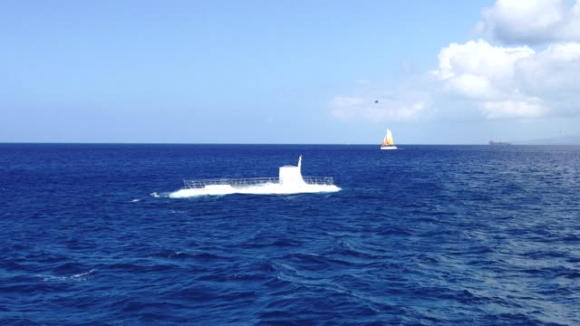 submarine going up from the ocean, hawaii usa - emergence stock videos & royalty-free footage