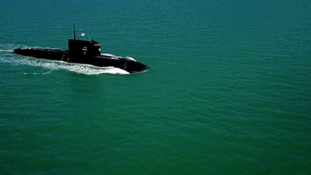 submarine in the sea - aerial view - submarine stock videos and b-roll footage
