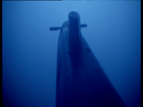 Submarine moves away from camera through dark blue waters