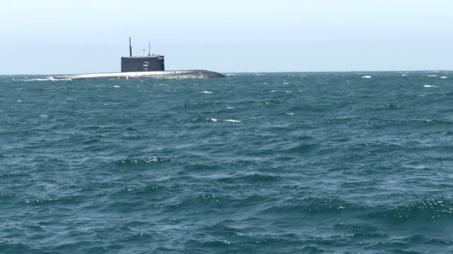 submarine on the horizon in the sea - russia stock videos & royalty-free footage