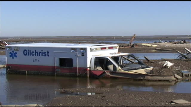 submerged gilchrist ambulance submerged by hurricane ike along galveston beach in galveston texas - environment or natural disaster or climate change or earthquake or hurricane or extreme weather or oil spill or volcano or tornado or flooding stock videos & royalty-free footage