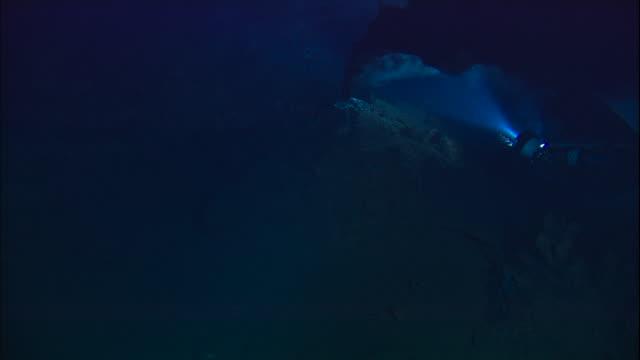 submersible lights illuminate black smoker deep sea vent on ocean floor, mid atlantic ridge - ravine stock videos & royalty-free footage