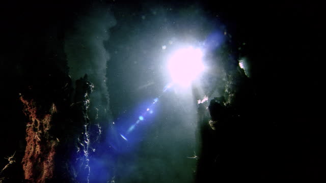 submersible lights illuminate black smoker deep sea vent on ocean floor, mid atlantic ridge - submarine stock videos and b-roll footage