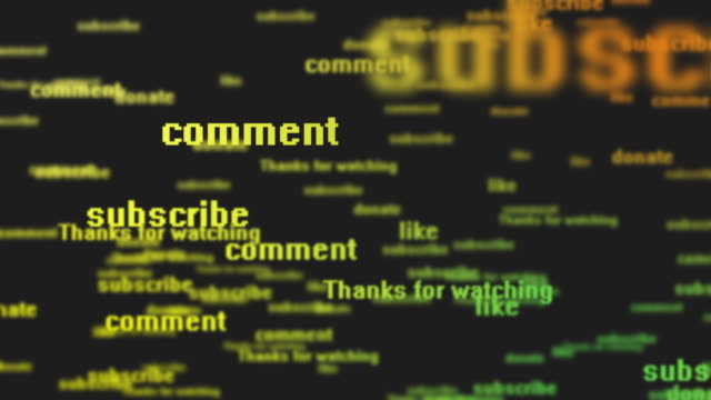 subscribe, comment, donate, like, contribute, thanks for watching - social network background - words   4k - commentary box stock videos & royalty-free footage