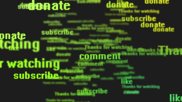 subscribe, comment, donate, like, contribute, thanks for watching - social network background - words | 4k - variation icon stock videos & royalty-free footage