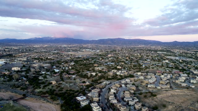 suburb , homes , and houses during sunset in santa fe , new mexico - santa fe new mexico stock videos & royalty-free footage
