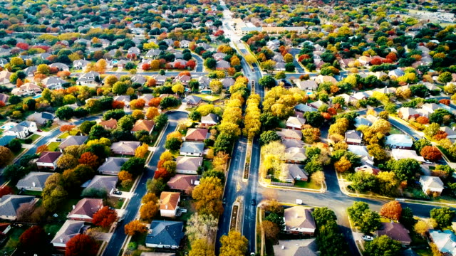suburb real estate neighborhood gorgeous colorful fall foilage - modern rock stock videos & royalty-free footage