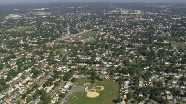 aerial suburban area near eisenhower park / east meadow, new york, usa - nassau stock videos & royalty-free footage