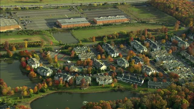 AERIAL WS Suburban area near Princeton / New Jersey, USA