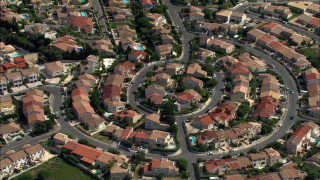 vidéos et rushes de aerial, suburban area, perpignan, languedoc-roussillon, france - banlieue pavillonnaire