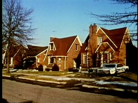 stockvideo's en b-roll-footage met montage, suburban detroit home exteriors, 1960's, michigan, usa - 1960 1969