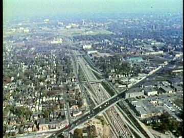 aerial, montage, suburban detroit residential districts, 1960's, michigan, usa - 1960 1969 stock videos & royalty-free footage