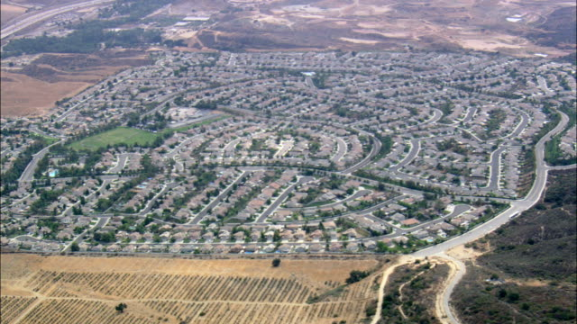 suburban estate in horsethief canyon  - aerial view - california, riverside county, united states - riverside california stock videos and b-roll footage